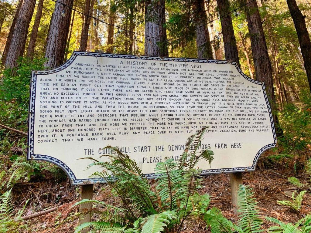 Mystery Spot history sign in the Santa Cruz Mountains